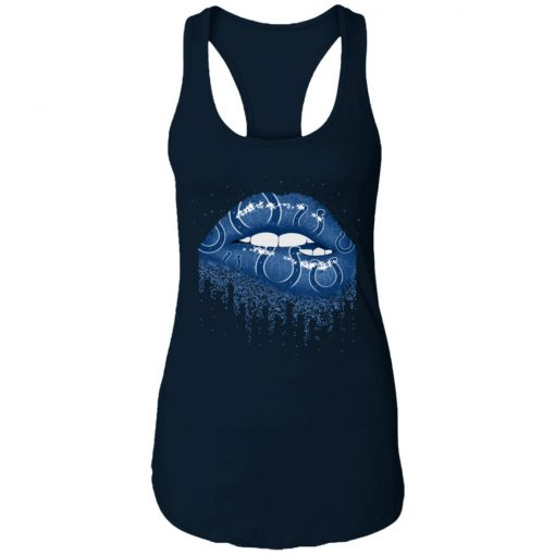 Biting Glossy Lips Sexy Indianapolis Colts NFL Football Women Racerback Tank