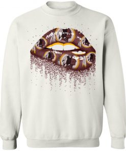 Biting Glossy Lips Sexy Washington Redskins NFL Football G180 Crewneck Pullover Sweatshirt 8 oz.