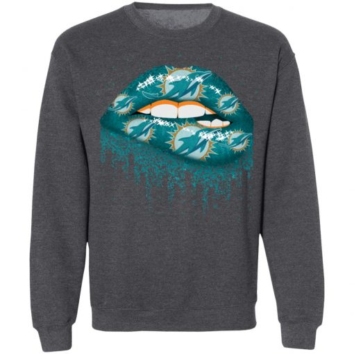 Biting Glossy Lips Sexy Miami Dolphins NFL Football G180 Crewneck Pullover Sweatshirt 8 oz.
