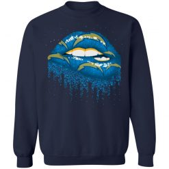 Biting Glossy Lips Sexy Los Angeles Chargers NFL Football G180 Crewneck Pullover Sweatshirt 8 oz.
