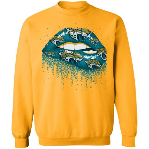 Biting Glossy Lips Sexy Jacksonville Jaguars NFL Football G180 Crewneck Pullover Sweatshirt 8 oz.