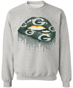 Biting Glossy Lips Sexy Green Bay Packers NFL Football G180 Crewneck Pullover Sweatshirt 8 oz.
