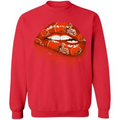 Biting Glossy Lips Sexy Cleveland Browns NFL Football G180 Crewneck Pullover Sweatshirt 8 oz.