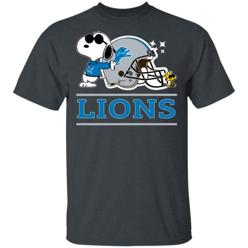 The Detroit Lions Joe Cool And Woodstock Snoopy Mashup Men T-Shirt