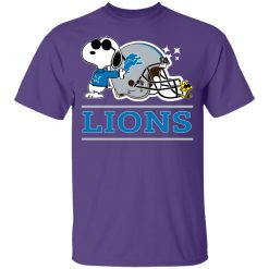 The Detroit Lions Joe Cool And Woodstock Snoopy Mashup Youth T-Shirt