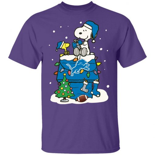 A Happy Christmas With Detroit Lions Snoopy Youth T-Shirt