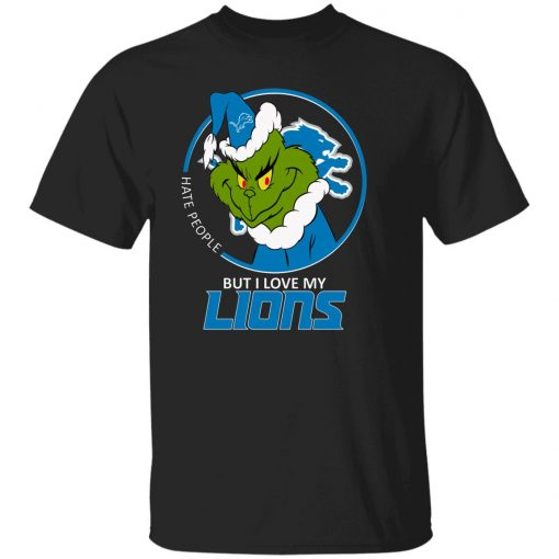 I Hate People But I Love My Detroit Lions Grinch NFL Youth Shirt