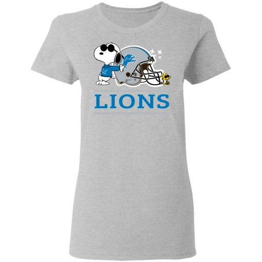 The Detroit Lions Joe Cool And Woodstock Snoopy Mashup Women T-Shirt
