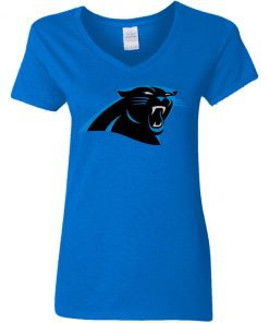 Panthers NFL Pro Line by Fanatics Branded Gray Victory Women V-Neck T-Shirt