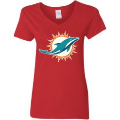 Miami Dolphins NFL Line by Fanatics Branded Aqua Vintage Victory Women V-Neck T-Shirt