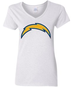 Los Angeles Chargers NFL Pro Line by Fanatics Branded Gray Victory Arch Women V-Neck T-Shirt