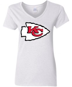 Kansas City Chiefs Line Gray Victory Arch Women V-Neck T-Shirt