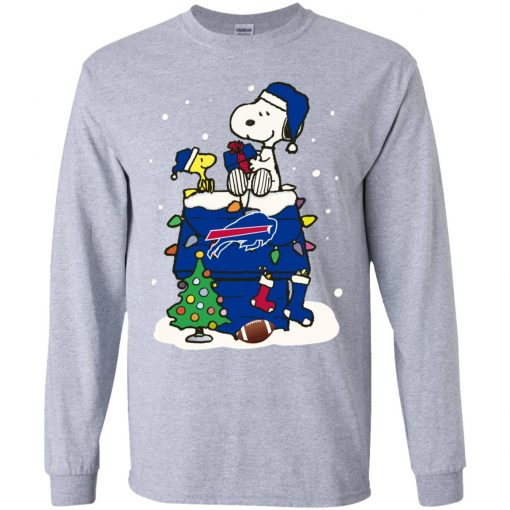 A Happy Christmas With New York Giants Snoopy Youth LS T-Shirt