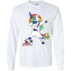 Football Dabbing Unicorn Steps On Helmet Buffalo Bills Youth LS T-Shirt