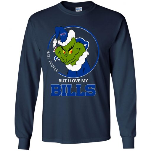 I Hate People But I Love My Buffalo Bills Grinch NFL Youth LS T-Shirt