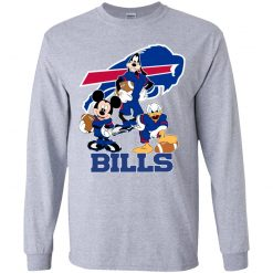 Mickey Donald Goofy The Three Buffalo Bills Football Youth LS T-Shirt