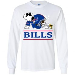The buffalo Bills Joe Cool And Woodstock Snoopy Mashup Youth LS T-Shirt