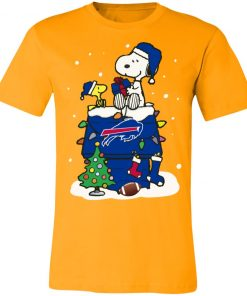 A Happy Christmas With New York Giants Snoopy Unisex Jersey Tee
