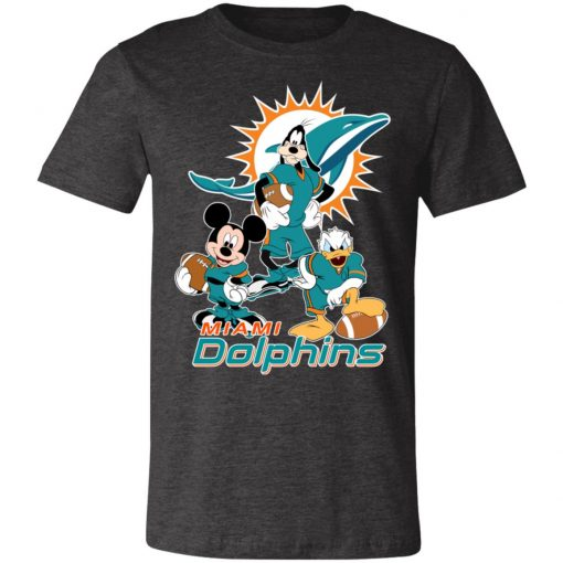 Mickey Donald Goofy The Three Miami Dolphins Football Unisex Jersey Tee