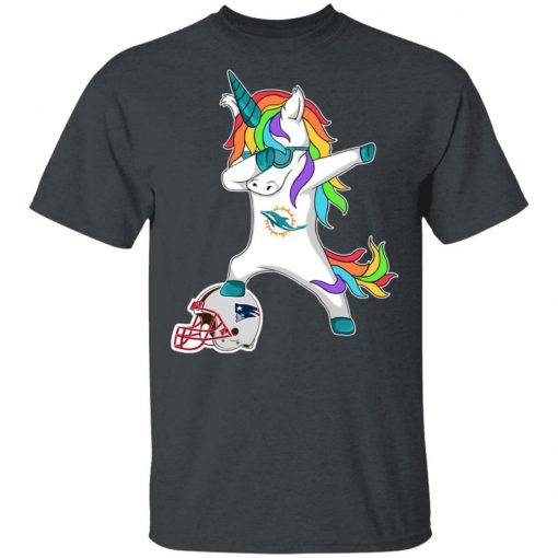 Football Dabbing Unicorn Steps On Helmet Miami Dolphins Men's T-Shirt