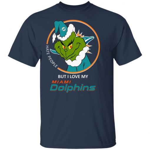 I Hate People But I Love My Miami Dolphins Grinch NFL Men's T-Shirt