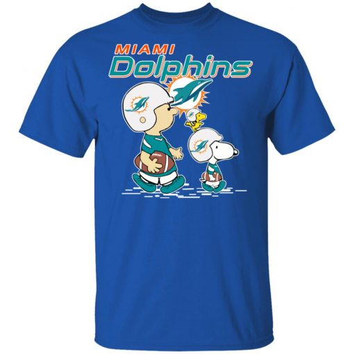 Miami Dolphins Let's Play Football Together Snoopy NFL Men's T-Shirt