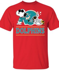The Miami Dolphins Joe Cool And Woodstock Snoopy Mashup Men's T-Shirt