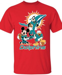 Mickey Donald Goofy The Three Miami Dolphins Football Youth's T-Shirt