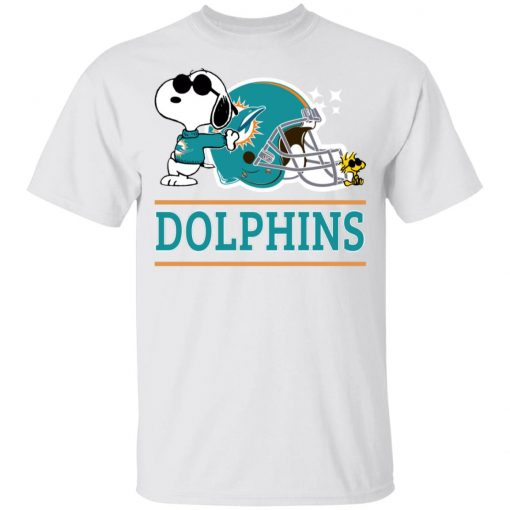 The Miami Dolphins Joe Cool And Woodstock Snoopy Mashup Youth's T-Shirt