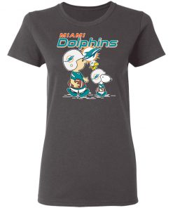 Miami Dolphins Let's Play Football Together Snoopy NFL Women's T-Shirt