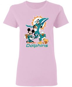 Mickey Donald Goofy The Three Miami Dolphins Football Women's T-Shirt