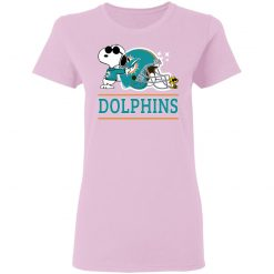 The Miami Dolphins Joe Cool And Woodstock Snoopy Mashup Women's T-Shirt