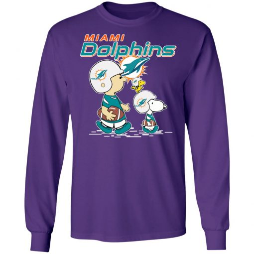 Miami Dolphins Let's Play Football Together Snoopy NFL LS T-Shirt