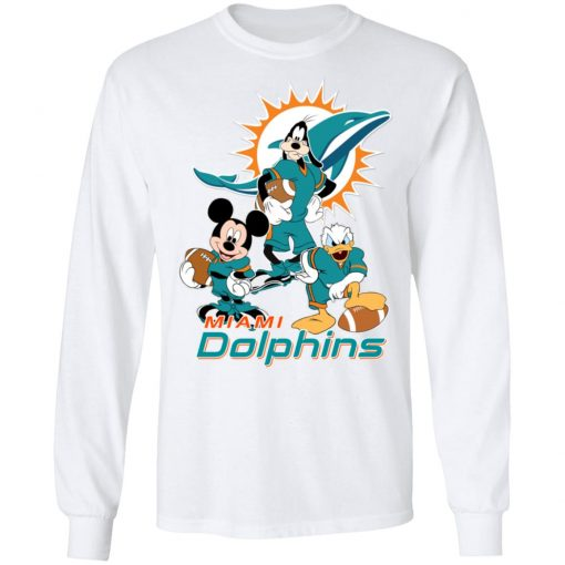 Mickey Donald Goofy The Three Miami Dolphins Football LS T-Shirt