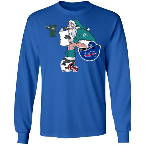 Santa Claus Miami Dolphins Shit On Other Teams Christmas LS T-Shirt