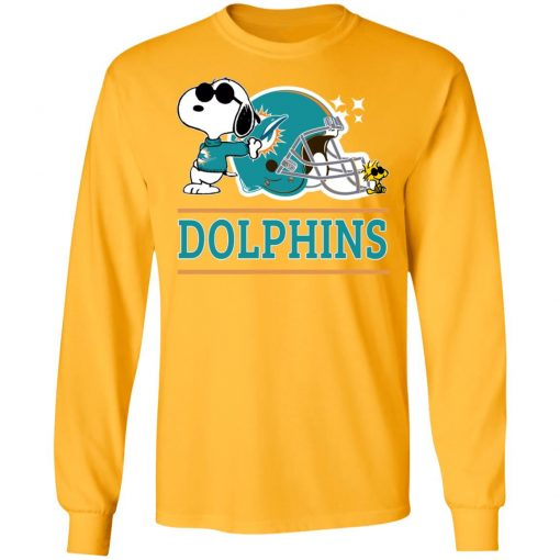 The Miami Dolphins Joe Cool And Woodstock Snoopy Mashup LS T-Shirt