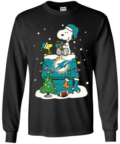 A Happy Christmas With Miami Dolphins Snoopy Shirts Youth LS T-Shirt