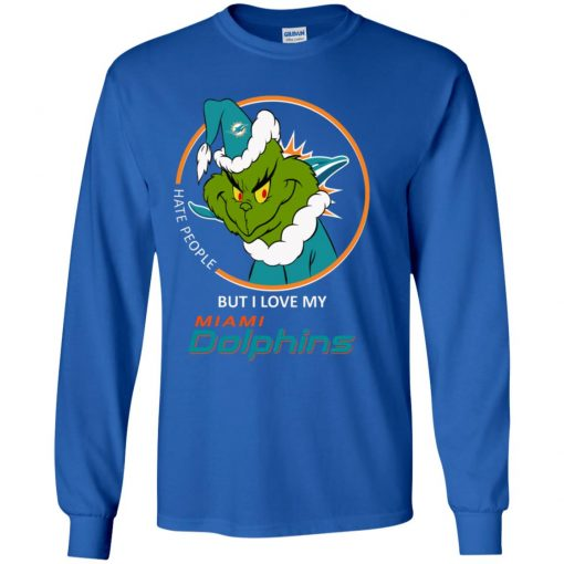 I Hate People But I Love My Miami Dolphins Grinch NFL Youth LS T-Shirt