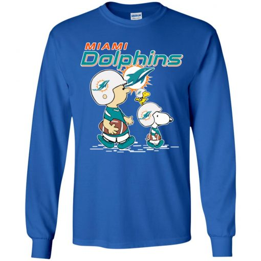 Miami Dolphins Let's Play Football Together Snoopy NFL Youth LS T-Shirt