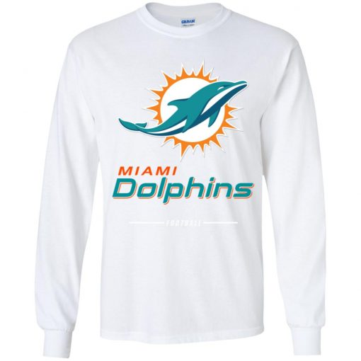Miami Dolphins NFL Pro Line White Team Lockup Youth LS T-Shirt