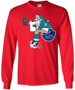 Santa Claus Miami Dolphins Shit On Other Teams Christmas Youth LS T-Shirt