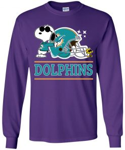 The Miami Dolphins Joe Cool And Woodstock Snoopy Mashup Youth LS T-Shirt