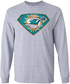 We Are Undefeatable The Miami Dolphins x Superman NFL Youth LS T-Shirt