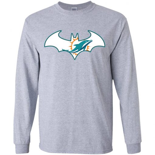 We Are The Miami Dolphins Batman NFL Mashup Youth LS T-Shirt
