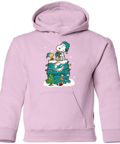 A Happy Christmas With Miami Dolphins Snoopy Shirts Youth Hoodie