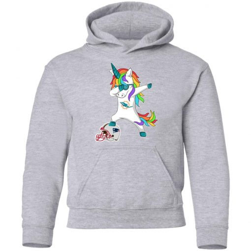 Football Dabbing Unicorn Steps On Helmet Miami Dolphins Youth Hoodie
