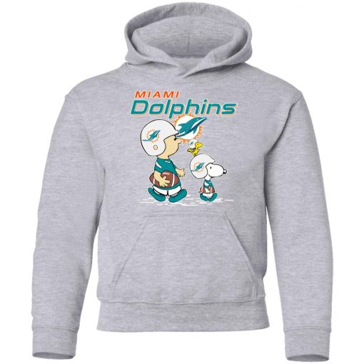 Miami Dolphins Let's Play Football Together Snoopy NFL Youth Hoodie
