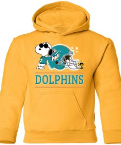 The Miami Dolphins Joe Cool And Woodstock Snoopy Mashup Youth Hoodie