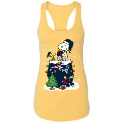 A Happy Christmas With New England Patriots Snoopy Racerback Tank