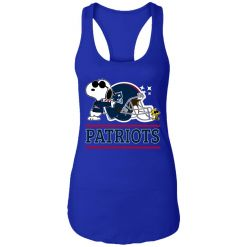 The New England Patriots Joe Cool And Woodstock Snoopy Mashup Racerback Tank